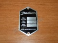 Serial number plate STADION black - graven